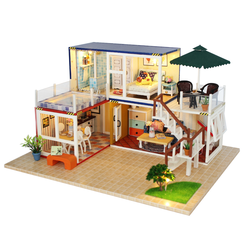 Doll House Miniature DIY Dollhouse With Furnitures Wooden House Toys For Children Birthday Christmas Gift your name 13842 doll house miniature diy dollhouse with furnitures wooden house toys for children birthday christmas gift your name 13842