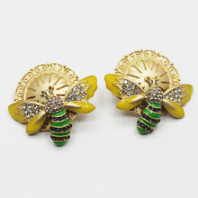 Cute Rhinestone Green and Yellow Bee Stud Earrings For Women Girls Gifts Fashion Insect Jewelry