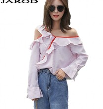 Striped Blouse Shirt Skew Collar One Shoulder Flounce Long Sleeve Button Design Blusas Top Clothing Shirt Women Blouse