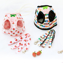 Pet Dog Vest Harnesses Cute Strawberry Bear Small Dogs Harness Puppy Cat Collar Pets Chest Strap Leash Set