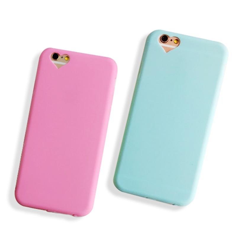 Mejor Calidad de Color caramelo Lindo Corazón Cariñoso Caso Para el iphone 6 Cas