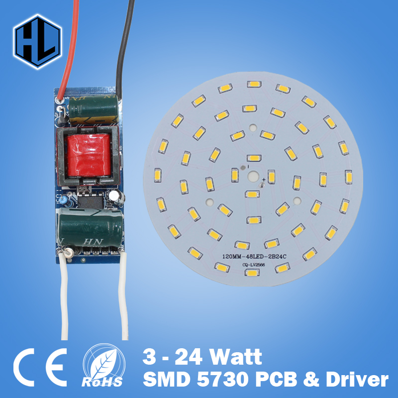 1 pce 3W 5W 7W 9W 12W 15W 18W 24W SMD5730 LED lamp LED bulbs for ceiling chandelier light +100-240V LED driver power supply