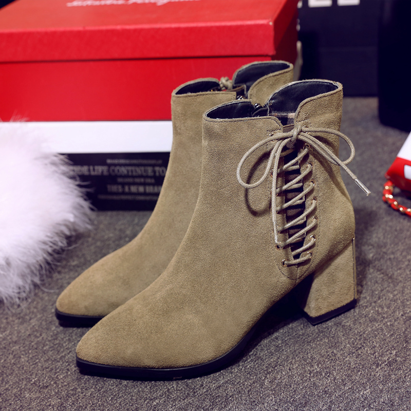 ФОТО Women's Genuine Leather Med Heel Comfortable Autumn Ankle Boots Brand Designer Lace-up Side Zip Short Booties Shoes for Women