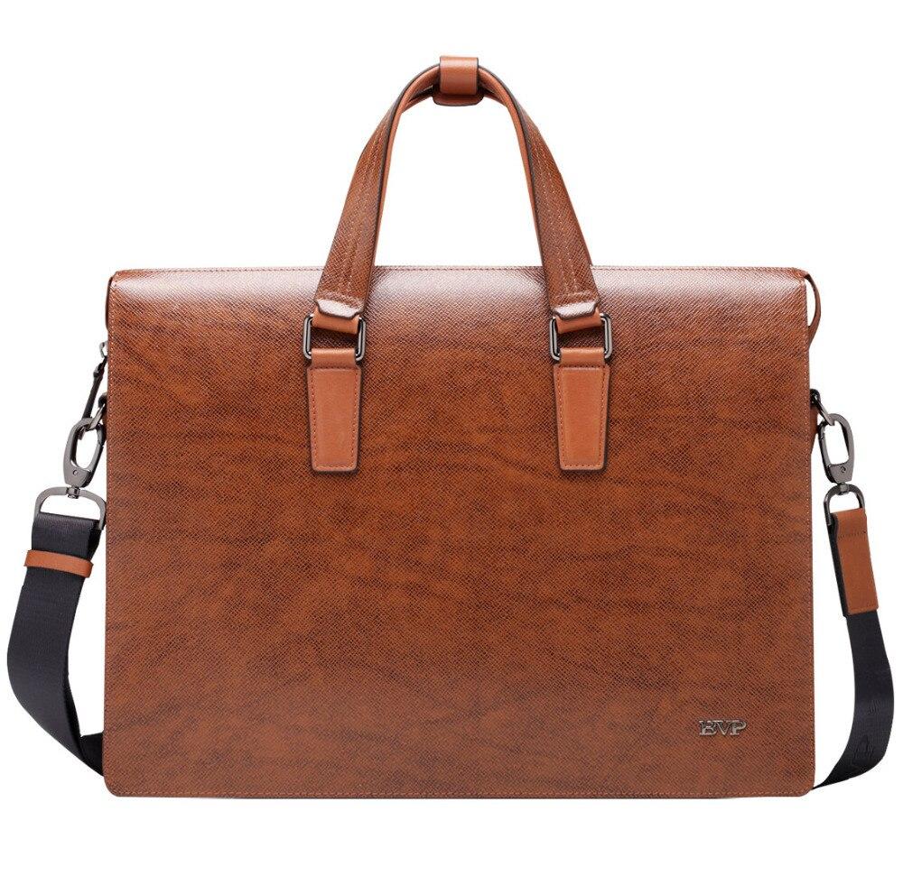 BVP Free -EMS Men's Genuine Leather Vintage Frmal Business Lawyer Briefcase Messenger Shoulder Attache Portfolio Tote 15