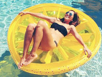 140CM 55 Inch Giant Inflatable lemon Pool Float Red Ride On Swimming Ring Adults Children Water Holiday Party Toys Piscina