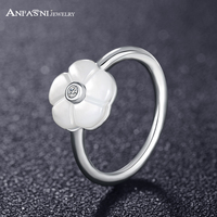 ANFASNI Classic Real 925 Sterling Silver Luminous Florals With Mother Of Pearl Clear CZ Women Feminine