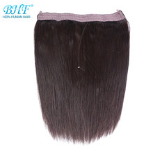 BHF Straight Machine Made Remy Flip Human Hair No Clip Fish Line Hair Extension 110g Flip Wire Hair(China)