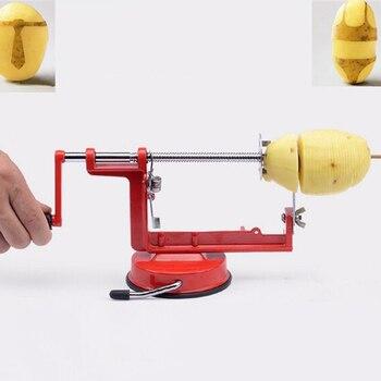 มันฝรั่ง Twist เครื่องตัดสแตนเลสอุปกรณ์ครัว Spiral ชิปเครื่องตัดด้วยตนเองตัดโลหะสีแดง