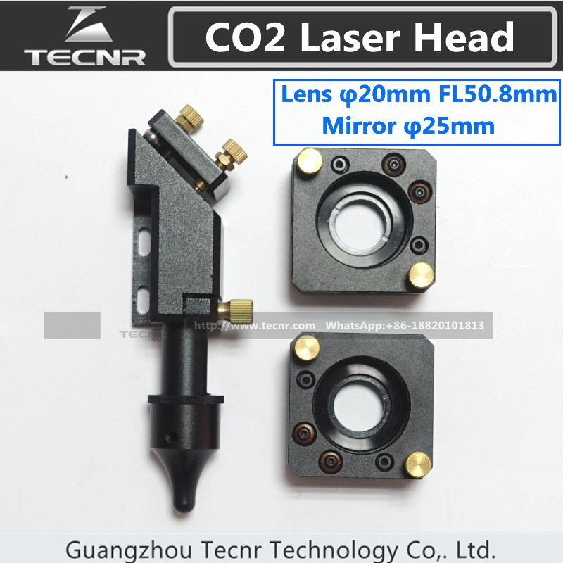 CO2 laser head for 20MM laser lens 50.8MM and mirror mount for 25MM mirror laser machine parts economic al case of 1064nm fiber laser machine parts for laser machine beam combiner mirror mount light path system