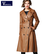 Vangull Women winter New faux leather PU coat female Double Breasted PU long jacket cool outerwear Punk Style lady Biker jacket(China)
