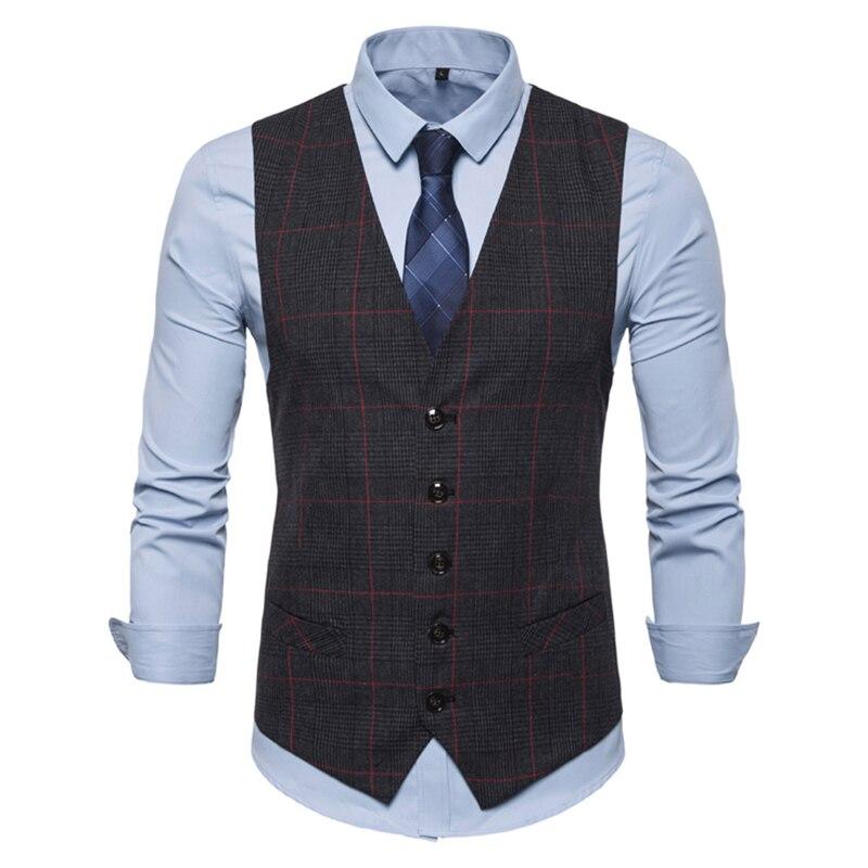 Mens Vest  Single-breasted Casual Waistcoat European Size 2019 Spring Autumn Leisure V Collar Men's Plaid Waistcoat