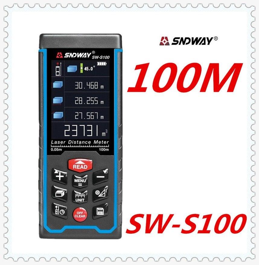 SNDWAY Laser distance mete Laser rangefinder range finder Digital Tape USB Color display Rechargeabel 100M SW-S100 free shipping цена