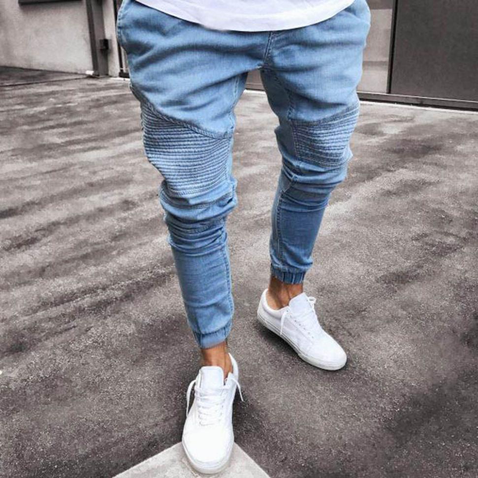 Men's Solid Color Elastic Denim Feet Jeans Pants Stretchy Slim Fit Denim Pants Casual Long Straight Trousers Skinny Jeans