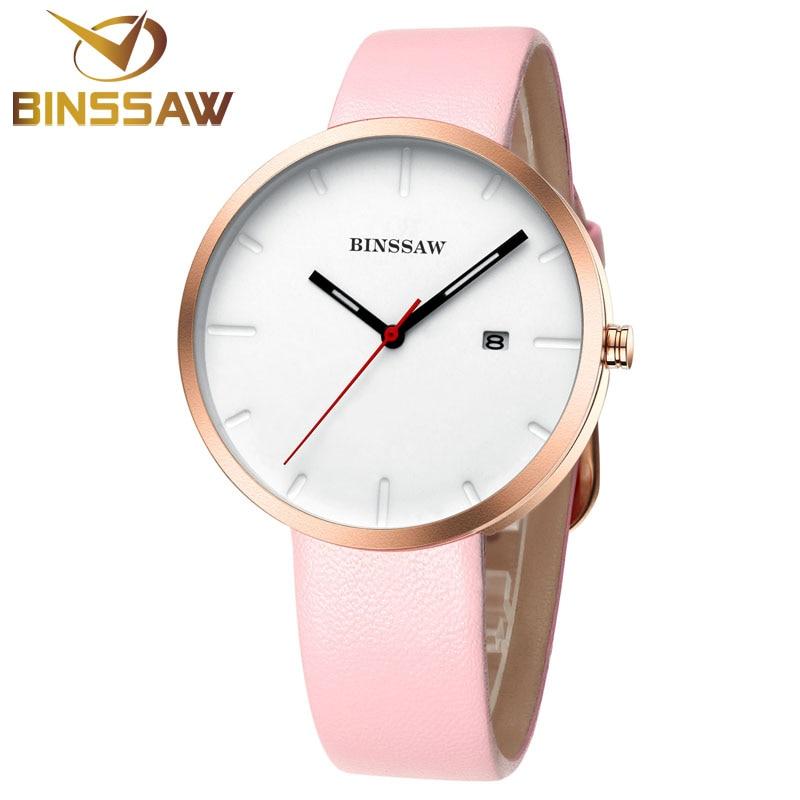 BINSSAW новых женщин модные часы любителей часы бизнес из нержавеющей стали кожа моды простой сексуальная кварц Люксовый бренд часы