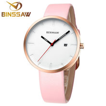 BINSSAW new women fashion watches lovers watch business stainless steel leather fashion simple sexy quartz Luxury brand watch(China)