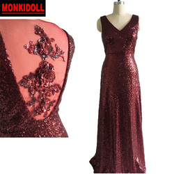 Real Sexy Sequins Burgundy Bridesmaid Dress 2019 3D Floral Applique V Neck  See Through Back Long Bridesmaid Dresses feestjurken 7c63f95feb96