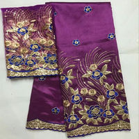 Beautiful Nigerian George Lace With Blouse Newest African George Lace Fabric Set With 2 Yards Indian Silk George For Dress 30