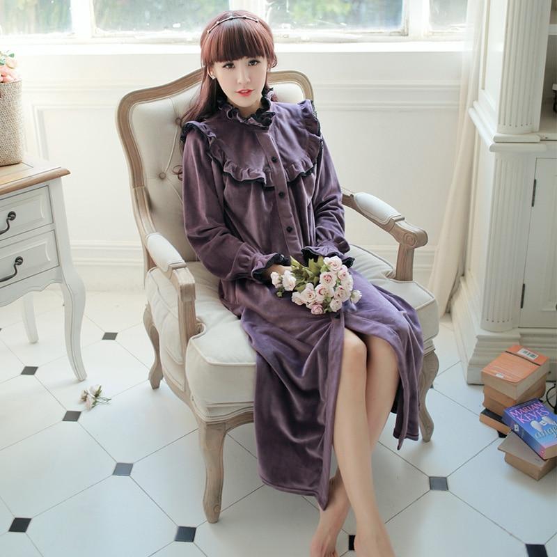 Winter Bademantel Frauen lange Nachthemd Robe Vintage Prinzessin Robe - Unterwäsche