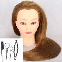 CAMMITEVER 2018 Naujoji kosmetologijos manekeno manekeno treniruotės galvutė su sintetinių plaukų dažais su stalviršio laikikliu ir įrankiais Dovanos