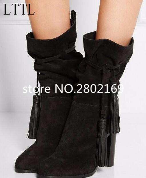Free Shipping Hottest Selling Mid-Calf Short Booties Spike Heels Pointed Toe Elegant Women Black Suede Leather Elegant Shoes