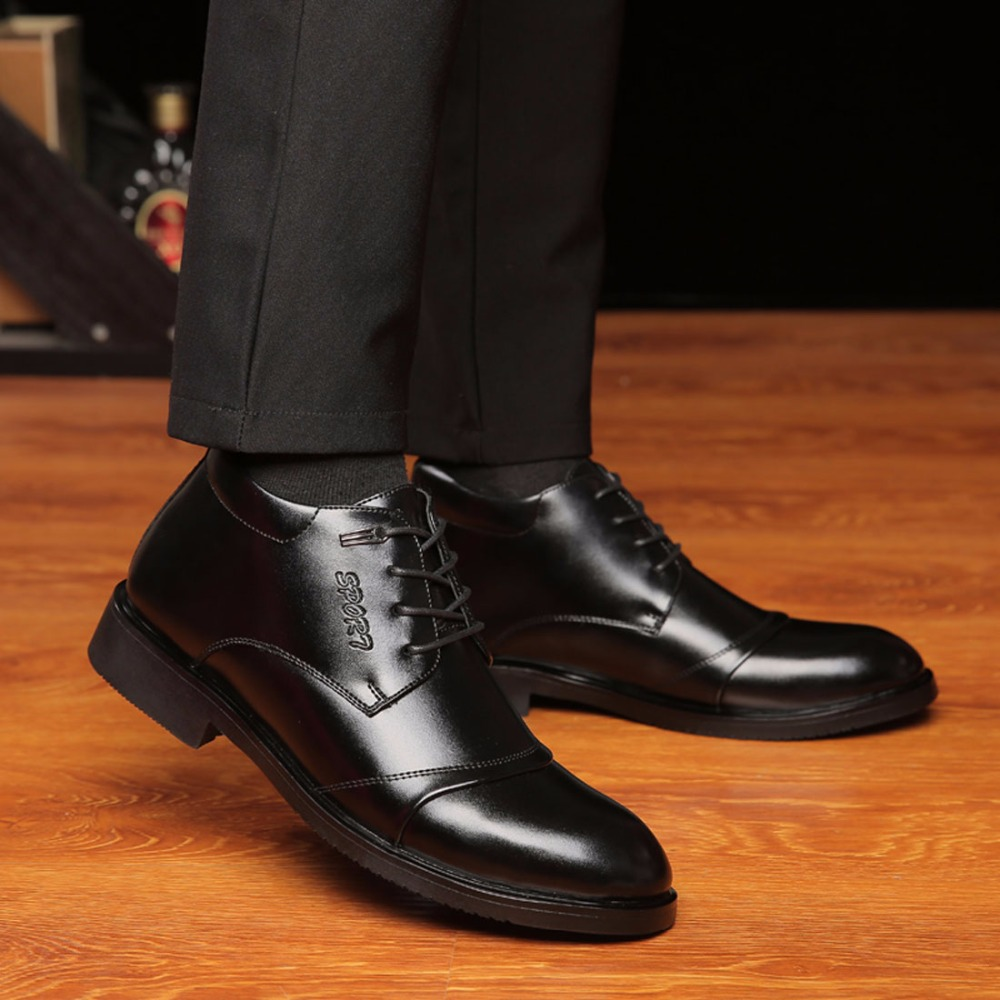 ZJNNK Famous Brand Warm Men Dress Shoes Business Leather Mens Winter Shoes Fashion Designer Luxury Mens Black Brown Shoes Male