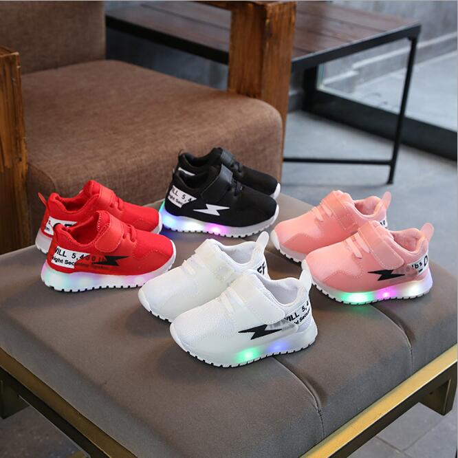 Spring Autumn Sports LED Shoes Running Baby Cool Breathable Hook&Loop Lovely Shoes Baby Elegant Cute Baby Light Sneakers