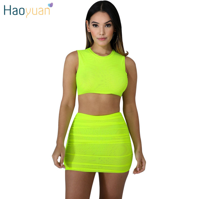 08dbe330fde HAOYUAN Neon Yellow Rose Mesh Sexy Two Piece Set Mini Skirt and Crop Top  Women 2 Piece Summer Clothes Matching Sets Club Outfits