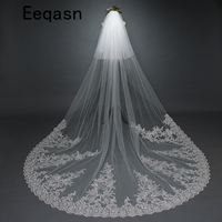 Real Photo 3m Wedding Veil Cathedral Two Layer Lace Applique Long Bridal Veils With Comb Wedding Gift Accessories