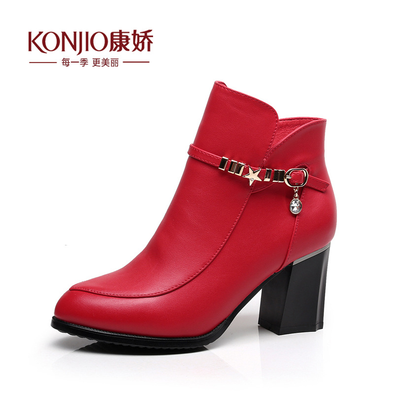 Boots Women Shoes 2016 New Fashion Genuine Leather Short Boots Shoes Women Plus Velvet Zipper Tenis Feminino Red Martin Boots