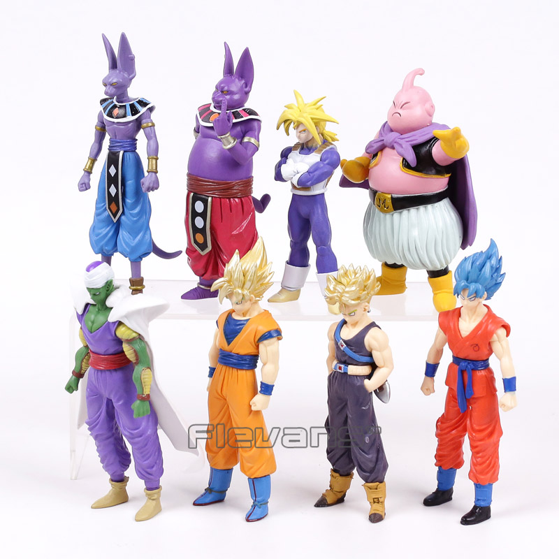Dragon Ball Z Super Saiyan Goku Trunks Champa Beerus Piccolo Majin Buu PVC Figures Collectible Model Toys 8pcs/set 13~16cm