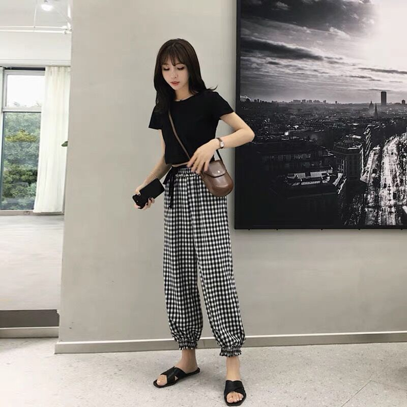 Summer Seaside Women Sets Clothes Black Pullover O-neck Tops Elastic Waist Ankle-length Pants Fashion And Casual 2 Pcs Set 4