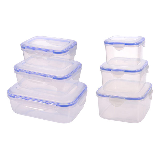 3 pcs/set plastic kitchen storage boxes lunch box airtight seal food