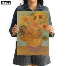 Vintage papier Kraft Van Gogh tournesol peinture à l'huile affiche impression photo Antique Bar café mur autocollant FVD 42.5x30.5 cm(China)