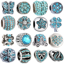 1PC Making Silver European Charms Beads Fit Brand Bracelet Jewelry Tibetan Blue Crystal Spacer Accessories