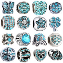 1PC Making Silver European Charms Beads Fit Pandora Bracelet Jewelry Making Tibetan Blue Crystal Spacer Beads Accessories(China)