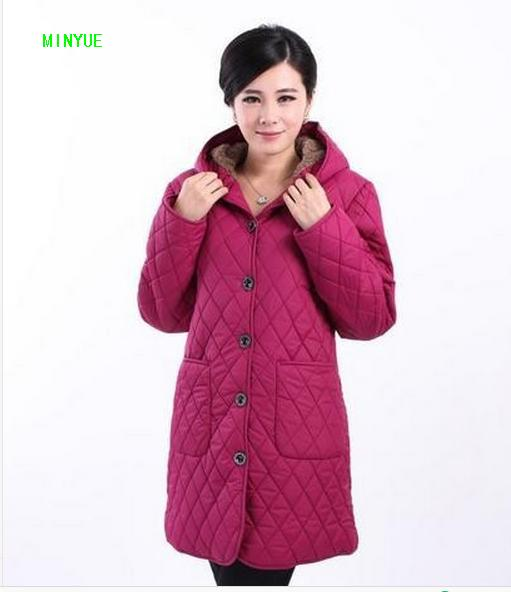 Women middle-aged   basic     jacket   XL-6XL winter coat Free shipping Women's coat winter plus velvet hooded cotton   jacket   16987