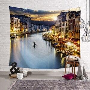 Image 4 - Cammitever 그리스 블루 화이트 타운 유럽 문화 휴일 태피스 트리 아름다운 풍경 히피 벽 매달려 태피스 트리 홈 장식