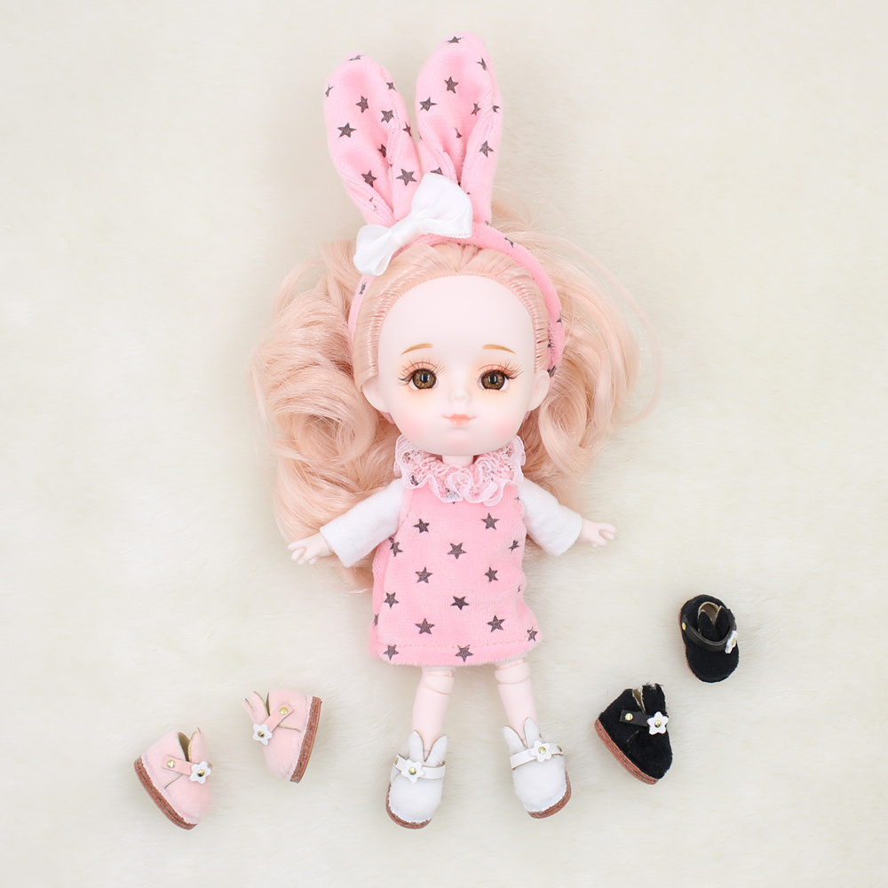 Shoes For 1/12 BJD Doll OB11 Cute Rabbit Plush Shoes In 3 Colors Suitable For 1/8 Middie Blyth Toys Gifts