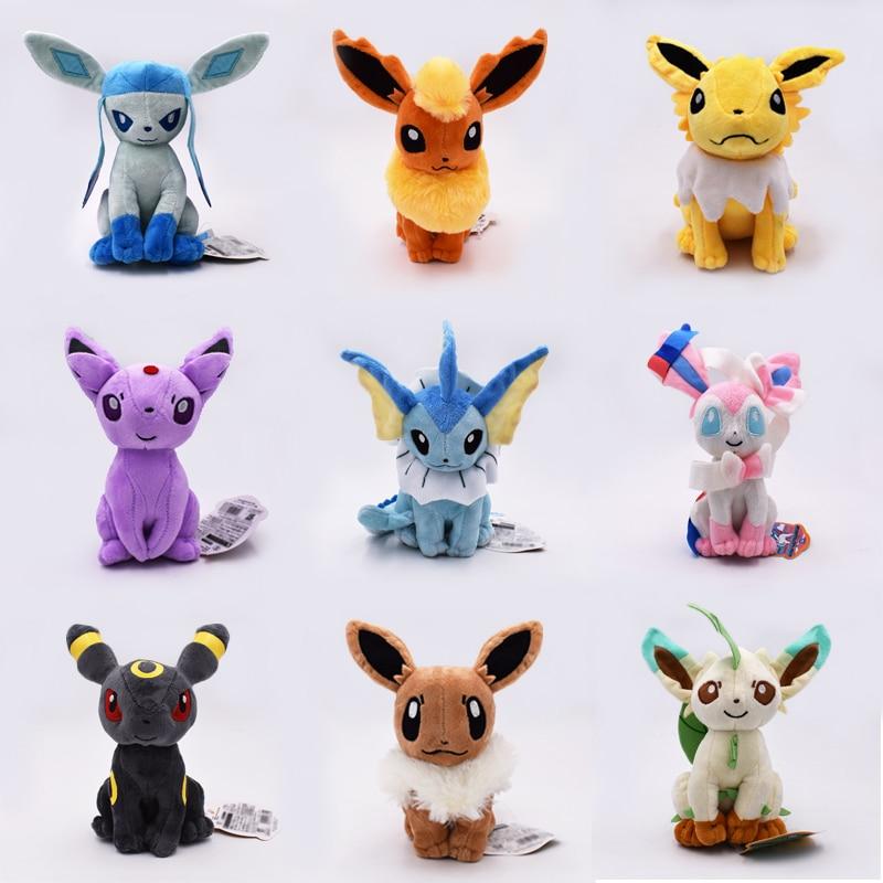 Kawaii Eevee Plush Toys Dolls Soft Stuffed Animals Anime Figure Kids Toys For Children Birthday Gift 9Pcs/Set Free Shipping