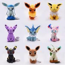 Eevee Bonecas Brinquedos de Pelúcia Macia Bichos de pelúcia Kawaii Anime Figura para Crianças Brinquedos Para Crianças Presente de Aniversário 9 pçs/set Frete Grátis