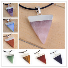 Trendy-beads Silver Plated Opalite Opal Triangle Shape Pendant For Party Red Agates Modern Jewelry