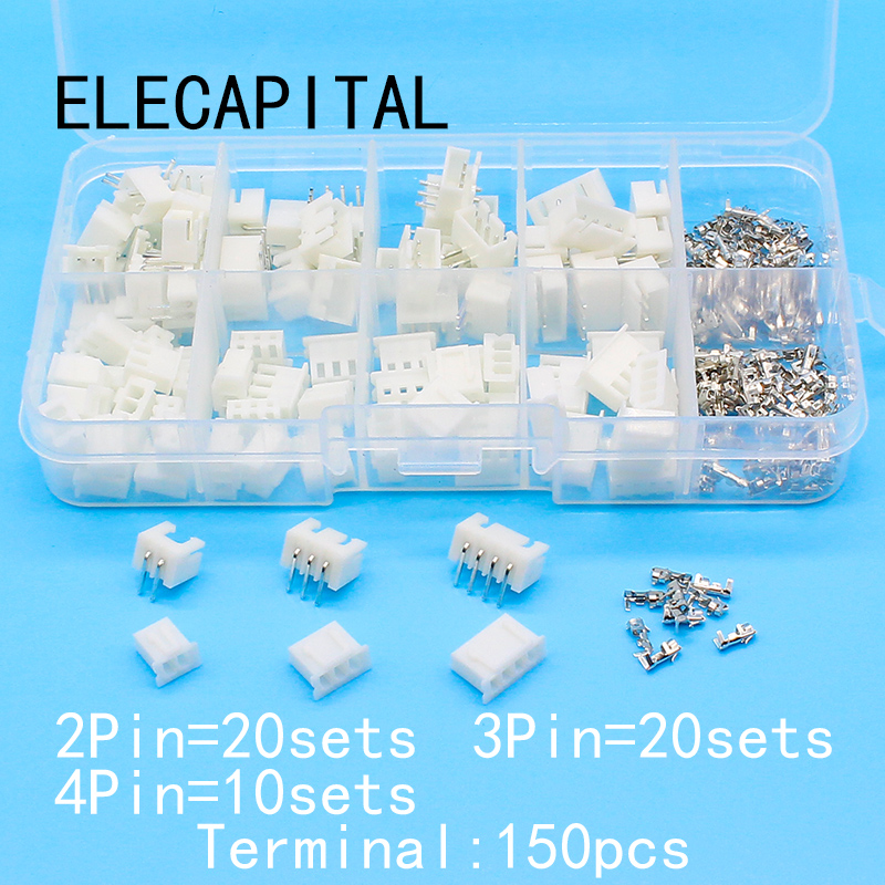 50 sets Kit in box 2p 3p 4pin Right angle <font><b>2.54mm</b></font> Pitch Terminal / Housing / Pin Header Connector Wire Connectors Adaptor <font><b>XH</b></font> Kits image