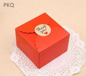 Image 4 - 50 stuks Rood/Zwart/Bruin Papier Doos Bruiloft Gunsten Snoep Doos Kleine Gift Box voor Sieraden DIY cookie/Muffin Verpakking 9x9x6 cm