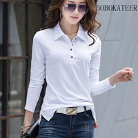 BOBOKATEER 2017 Long Sleeve Cotton Plus Size Loose Slim White Black Gray Solid T Shirts Ttop