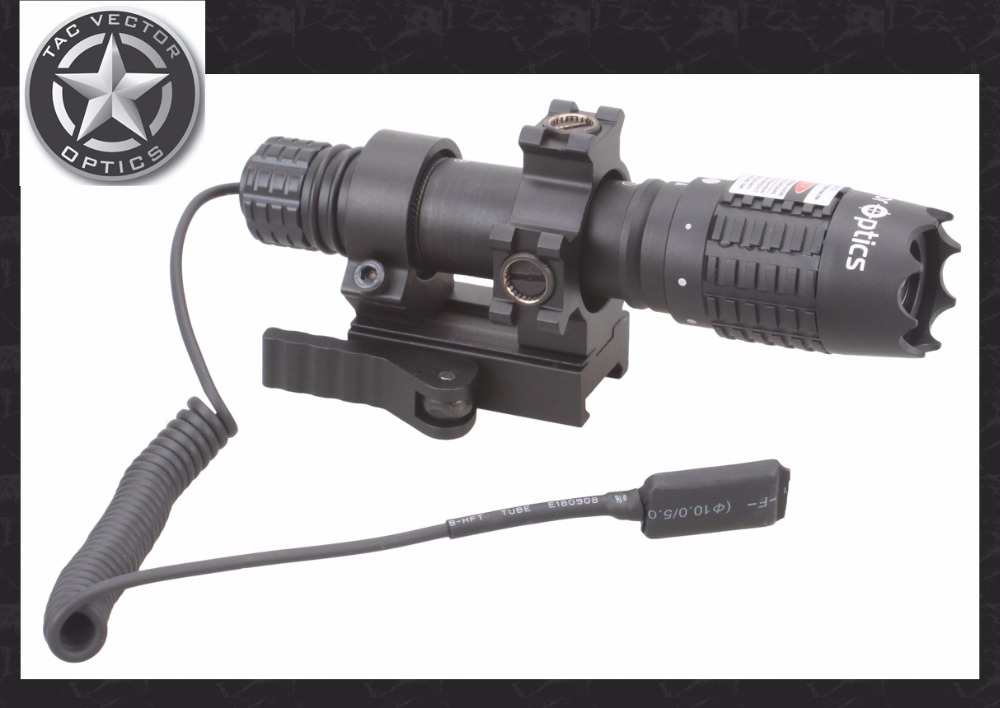 Vector Optics Magnus Hunting Green Laser Adjustable Flashlight Designator Torch with 20mm QD Picatinny Weaver Base & Scope Ring