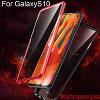 Luxury Magnetic Adsorption Case For Samsung Galaxy S10 s10 Metal Frame Clear Tempered Glass Cover GalaxyS10 Magnetic Flip Cases