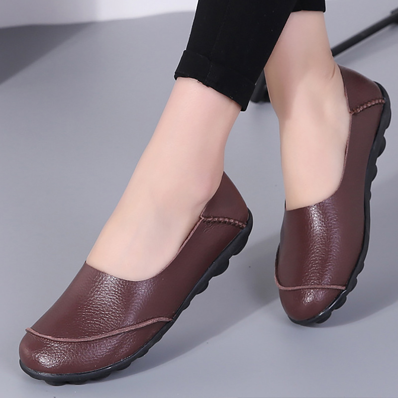 Woman shoes 2019 spring fashion style large size 35-44 genuine leather flats loa