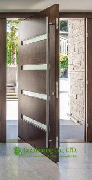 pivote puerta de entrada de madera maciza para la venta exterior moderno puertas pivotantes
