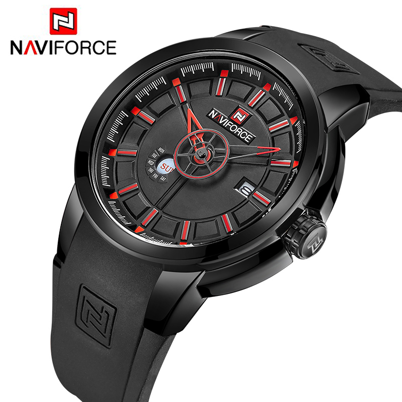 NAVIFORCE Men s Quartz Watches New Brand Luxury Men Military Sport Hour Rubber Strap Waterproof Wristwatches