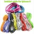 ¡ Nuevo!!!!!!!!!! color de tejer línea 1 m cable del cargador para el iphone 5 6 6 + 5 s el mini